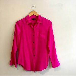 Madewell silk hot pink button down blouse
